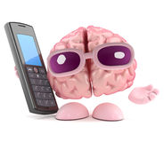 3d Brain maks a call on a cellphone. 3d render of a brain character holding a cellphone Royalty Free Stock Photos