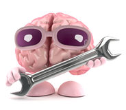 3d Brain mechanic. 3d render of a brain holding a spanner Royalty Free Stock Image