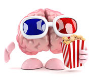 3d Brain at the movies. 3d render of a brain eating popcorn at the movies Royalty Free Stock Photo