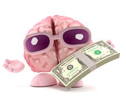 3d Brain payday. 3d render of a brain holding US Dollars Stock Image