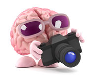 3d Brain photographer. 3d render of a brain taking photographs with a camera Stock Photos
