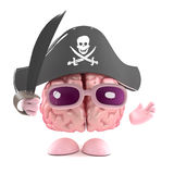 3d Brain pirate. 3d render of a brain dressed as a pirate and holding a cutlass Stock Image