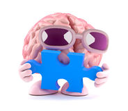 3d Brain puzzles. 3d render of a brain holding a piece of a jigsaw puzzle Stock Images