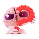 3d Brain question. 3d render of a brain holding a question mark Royalty Free Stock Photos