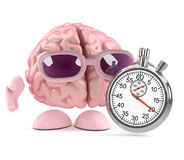 3d Brain race. 3d render of a brain with a stopwatch Stock Photography