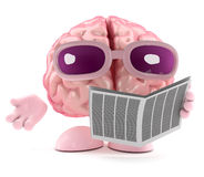 3d Brain is reading the newspaper Royalty Free Stock Photo