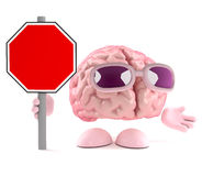 3d Brain road sign. 3d render of a brain holding a blank road sign Royalty Free Stock Images