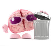 3d Brain rubbish. 3d render of a brain opening a rubbish bin vector illustration