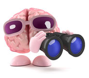 3d Brain searches with binoculars Royalty Free Stock Photography