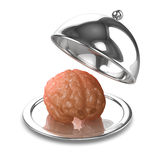 3d Brain on a silver tray. 3d render of a brain on a silver tray Stock Images