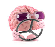 3d Brain steers. 3d render of a brain navigating with a steering wheel Royalty Free Stock Photos