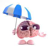 3d Brain storm. 3d render of a brain using an umbrella to stay dry Stock Photo