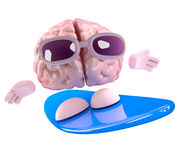 3d Brain surfing. 3d render of a brain surfing on a surfboard Stock Photo