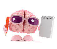 3d Brain takes notes Royalty Free Stock Photography