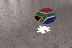 Silver Puzzle plane for South Africa Flag to Brain stock photo