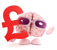 3d Brain UK Pounds. 3d render of a brain with a UK Pounds sterling symbol stock illustration