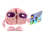 3d Brain uses a debit card. 3d render of a brain holding a debit card Stock Image