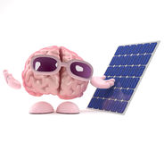 3d Brain uses solar power. 3d render of a brain character standing next to a solar panel Stock Photography