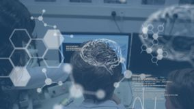 3d brains and hexagons with scientists in laboratory in the background