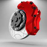 3d brake. 3d racing brakes in the background Royalty Free Stock Image
