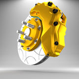 3d brake. 3d racing brakes in the background Stock Images