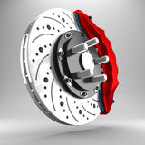 3d brake. 3d racing brakes in the background Stock Image