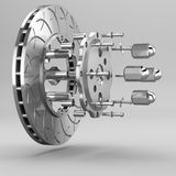 3d brake. Racing brakes 3d model in the background Stock Photos