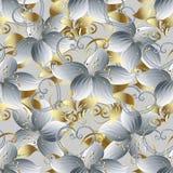 3d branco floresce o teste padrão sem emenda Luz b floral do vetor do vintage ilustração stock