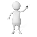 3d branco Person Pointing Finger Imagem de Stock