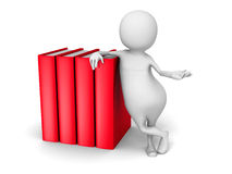 3d branco Person With Red Books Fotos de Stock Royalty Free