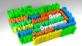 3D BRAND MARKETING word cloud. Colorful 3D BRAND MARKETING word cloud Stock Photo