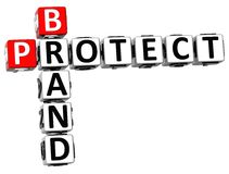 3D Brand Protect Crossword Stock Photo