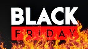 3D brand van Black Friday op zwarte achtergrond Royalty-vrije Stock Fotografie