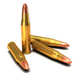 3d Brass bullets Stock Images
