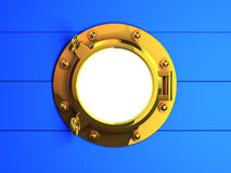 3d Brass porthole on blue wooden planking. 3d render of a brass porthole on blue wooden planking Stock Image