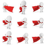 3d brave superhero. Man brave superhero with red cloak and sign of victory - right hand raised up clenched fist. Isolated on white 3d render illustration Stock Photo