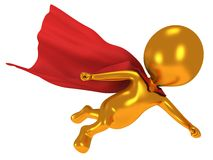 3d brave superhero with red cloak flying above Royalty Free Stock Image