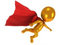 3d brave superhero with red cloak flying above Stock Image