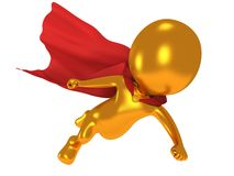3d brave superhero with red cloak flying above. Gold brave superhero with red cloak flying above. Isolated on white 3d render. Flying, power, freedom concept Royalty Free Stock Images