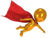 3d brave superhero with red cloak flying above Stock Images