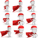 3d brave superhero santa claus. 3d man brave superhero santa with thumbs up wear red cloak and santa claus hat. 3D render set isolated on white background Stock Image