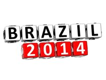 3D Brazil 2014 Button Click Here Block Text. Over white background Stock Images