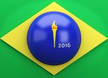 3d Brazil flag. Sports concept. 3d illustration. Brazil flag. Rio de Janeiro 2016 Stock Photo