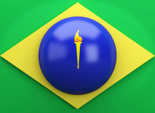 3d Brazil flag. Sports concept Stock Photos