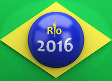 3d Brazil flag. Sports concept. 3d illustration. Brazil flag. Rio de Janeiro 2016 Stock Photos