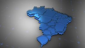 3D Brazil - Translucent. 3D animation map for infographic stock illustration