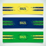3D Brazilian banners. 3D modern banners with racing stripes and inscription - Brazil. 3D vector eps 10 Stock Images