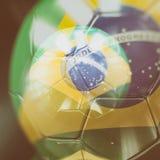 3d Soccer Ball with Brazil Flag Illustration. 3d Brazilian Soccer Ball, Football Ball with Brazil Flag, Brasil Colours Football Championship Design Banner Royalty Free Stock Photography