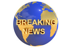 3D breaking news concept. Breaking news concept 3D on white background Royalty Free Stock Photo