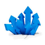 3d - breakthrough arrows - blue. 3d render - breakthrough blue arrows over white background Royalty Free Stock Photography